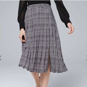 WHBM Houndstooth Soft Midi Skirt Pleated Slit